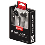Maxell RAD-1 Radiator Enhanced Bass Earphones with In-line Mic, Black/Red
