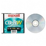 Maxell CD RW 74 minute 650mb Branded Rewritable Jewel Case Silver Top Silver Bottom