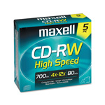 Maxell CD RW Rewritable Discs, Branded Surface, 700MB/80MIN, 12x, Gold, 5/Pack