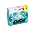 Maxell CD RW, 700MB/80Min, 3 pack with Slim Case