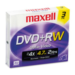 Maxell DVD+RW Rewritable Discs with Jewel Cases, 4.7 GB, Silver, 3/Pack