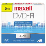 Maxell DVD R Recordable Discs with Jewel Cases, 4.7 GB, Gold, 5/Pack