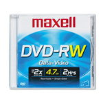 Maxell Rewritable Single Sided Recordable 4.7GB DVD RW
