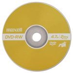 Maxell DVD RW Rewritable Discs with Jewel Cases, 4.7 GB, Gold, 3/Pack