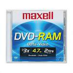 Maxell DVD RAM Rewritable Disc, Single Sided, 4.7GB Capacity