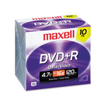 Maxell DVD+R Recordable Discs with Jewel Case, 4.7 GB