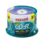 Maxell CD R Discs, 48x, 700MB/80Min, Branded, Spindle, Assorted Colors, 50/Pack