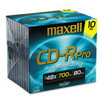 Maxell CD Recordable Discs, 40x, 80 min., Branded, Jewel Case, Gold, 10/Pack