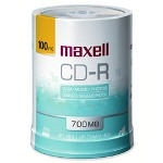 Maxell CD R Discs, 48x, 700MB/80 min., Printable, Spindle, Matte White, 100/Pack