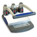 "McGill Heavy Duty 3 Hole Punch, 300 Sheet Capacity, 9/32"" Hole Diameter, Gray/Blue"