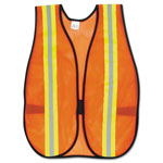 "MCR Safety Orange Safety Vest, 2"" Reflective Strips, Polyester, Side Straps, One Size"