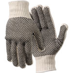 MCR Safety Work Gloves, PVC Dots On Both Sides, Large, White