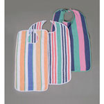 Medline Value-Packed Terry Clothing Protectors - Bib, Terry, Velcro, 13Oz, Bright Strpe, 22X36
