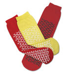 Medline Slipper, Double Tread, Red, 1 Sz Fits Most