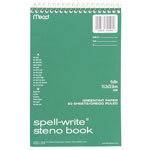 "Mead Steno Book, Gregg Ruled, Perforated, 8-1/2""x6"", 80 Sheets, Green Paper"