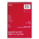 Mead Spell-Write Steno Book, Gregg Rule, 6 x 9, White, 80 Sheets/Pad