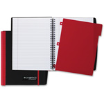"Mead Notebook, Durable Stiff Cover, Double Sided Pocket, 8.4"" x 9.6"", BK/RD"