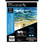 "Mead Watercolor Textured Surface Pad, 9"" x 12"", 15 Sheets, White"
