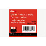 "Mead Index Cards, Plain, 3"" x 5"", 100 Count, White"