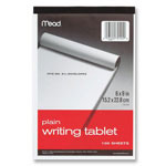 "Mead Writing Tablet, Top-bound, Plain, 15 lb, 6"" x 9"" 100 Sh, White"