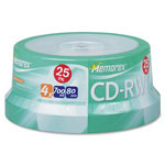 Memorex CR-RW, Rewritable, 4X, 700MB/80Min, Branded, 25 Pack