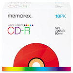 Memorex CD-R Discs, 700Mb/80Min, 48x, Slim Jewel Cases, Assorted Colors