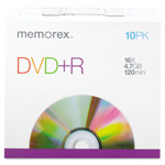 Memorex DVD+R Discs, 4.7GB, 16x, W/Slim Jewel Cases, Silver