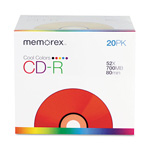 Memorex CD R80 Cool Color CD R Discs, 80 minutes/700MB, Slimline Jewel Case, 20 Pack