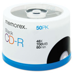 Memorex CD R Recordable Discs, 700MB/80MIN, 48x, Branded, Spindle, Black, 50/Pack