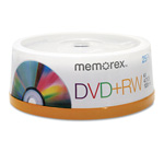 Memorex DVD+RW, 4.7GB, 4X, Spindle/25PK