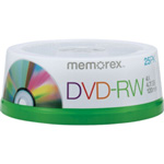 Memorex DVD Rewritable Disks, 4x DVD RW, 25/ Pack