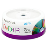 Memorex DVD+R Recordable Discs on Spindle, 4.7 GB, Silver, 25/Pack