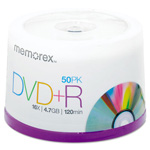 Memorex DVD+R Recordable Discs on Spindle, 4.7 GB, Silver, 50/Pack