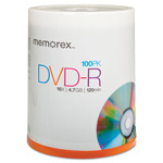 Memorex DVD R Recordable Discs on Spindle, 4.7 GB, Silver, 100/Pack