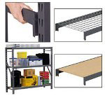 "Metal Box International Heavy Duty Wire Shelving Starter Kit, 72"" x 24"", 3 Shelves, Gray"