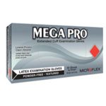 Micro Flex MEGA PRO Extended Cuff Latex Exam Gloves, Box of 50, Size Small