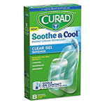Curad Soothe & Cool Clear Gel Bandages, 1.8 x 2.96, Clear, 8/Box