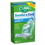 Curad Soothe & Cool Clear Gel Bandages, Assorted, Clear, 8/Box
