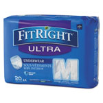"Medline FitRight Ultra Protective Underwear, Medium, 28-40"" Waist, 20/Pack"