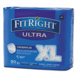 "Medline FitRight Ultra Protective Underwear, X-Large, 56-68"" Waist, 20/Pack, 4 Pack/Ctn"