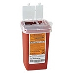 Medline Sharps Container, Freestanding/Wall Mountable, 1qt, 4 1/4 x 4 x 6, Red