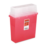 Medline Sharps Container for Patient Room, Plastic, 5 Quart, Rectangular, Red