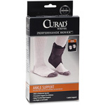 Medline Ankle Support W/ Stays, Curad, Fits R/L, Black