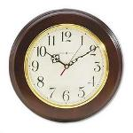 "Howard Miller Clock Brentwood Wall Clock, Warm Cherry Finish/Brass Bezel, 11 1/2"" Diameter"