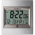 Howard Miller Clock LCD Accuwave DS Radio Controlled TechTime II Table Alarm Clock, Silver/Titanium