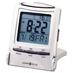 Howard Miller Clock Distant Time Traveler Folding Alarm Clock, 2 1/4w x 1d x 3h, Metallic Silver