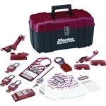 Master Lock Company Electrical Lockout Kit, Portable Safety Carry Case, Red, Black