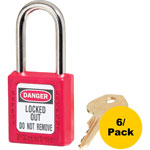 "Master Lock Company Safety Padlock, Labeled, 1/4""Dx1-1/2""H Shackle, 6/PK, Red"