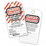 "Master Lock Company ID Tags, "" Do Not Operate"", Withstand 80Ib Pullout, 12 Count, White"