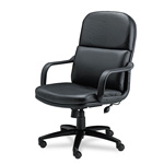 Mayline Big & Tall Executive Swivel/Tilt Chair w/Loop Arms, Black Leather